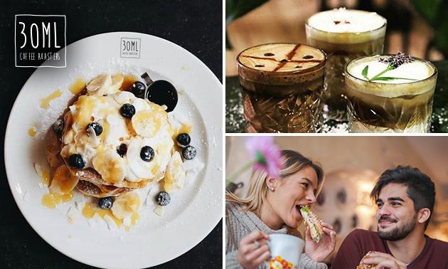 Afhalen: ontbijt- of lunchgerecht + warme drank