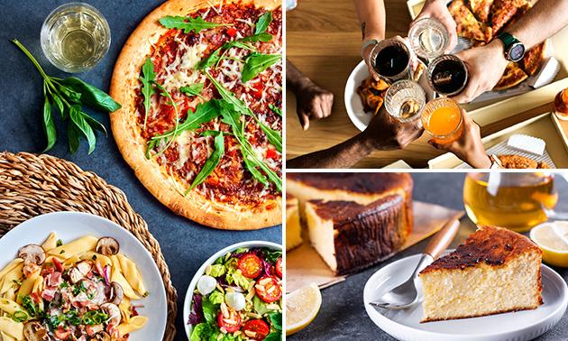 Afhalen: pizza of pasta + evt. dessert en drankje