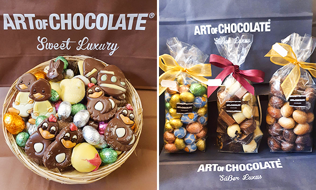Afhalen: pralines, paaseitjes (1,5 kg) of paaschocolade (1 kg)