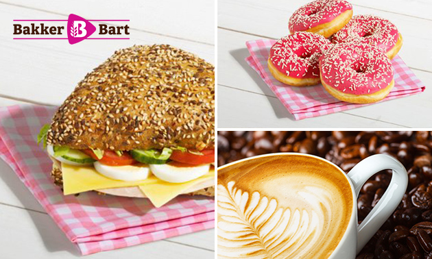 Afhalen: belegd broodje + drankje + donut bij Bakker Bart