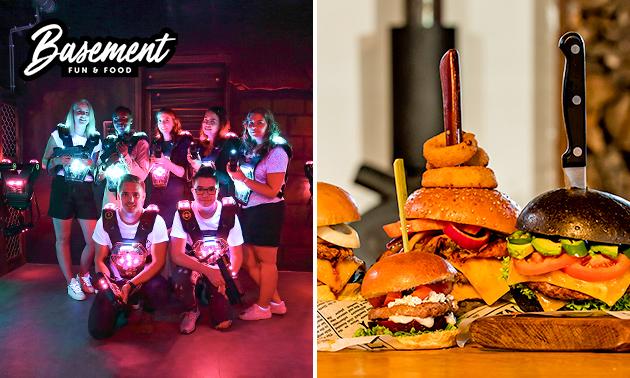 2x lasergamen + burger met friet