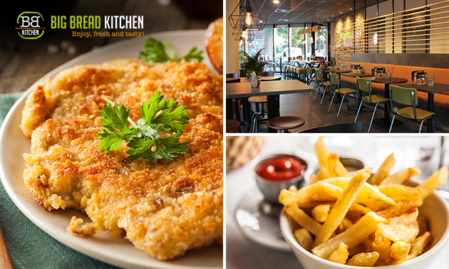 Afhalen: schnitzel + friet + salade + saus bij Big Bread Kitchen