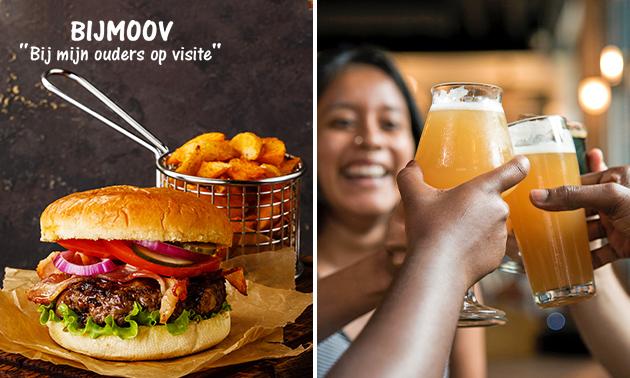 Hamburger met friet en salade + speciaalbier bij BijMoov