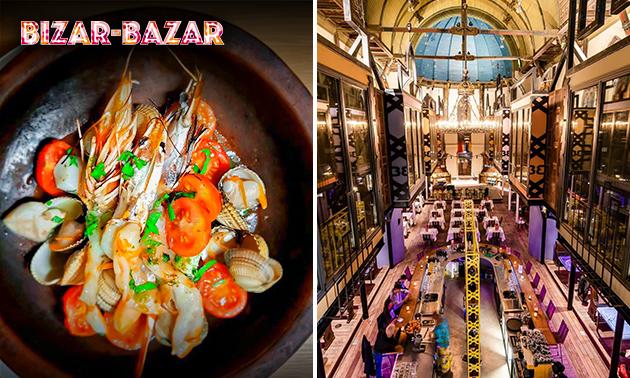 4-gangendiner bij Bizar-Bazar