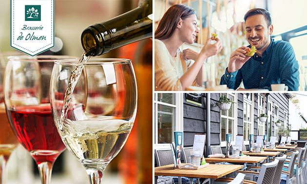 Wijnproeverij + hapjes bij Brasserie De Olmen