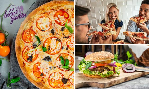 Afhalen of thuisbezorgd: burgermenu of pizza naar keuze