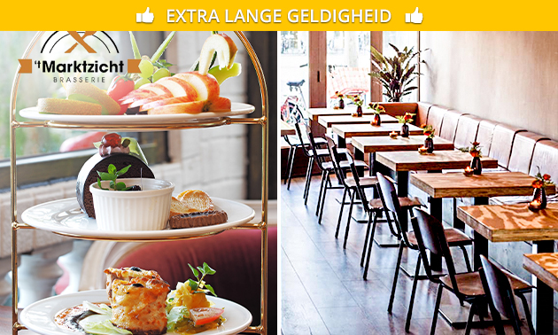 High tea (2 uur) + prosecco bij Brasserie 't Marktzicht