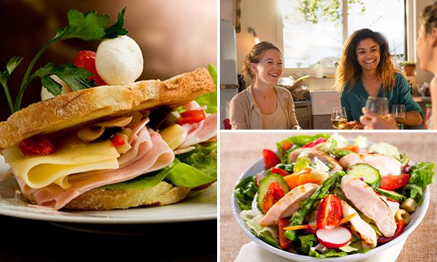 Thuisbezorgd of afhalen: broodje + soep óf maaltijdsalade naar keuze