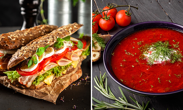 Thuisbezorgd of afhalen: broodje + soep óf maaltijdsalade