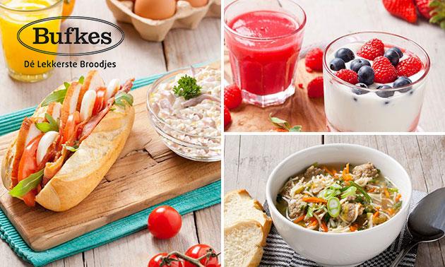 Broodje + soep + drankje + yoghurt/ijs bij Bufkes