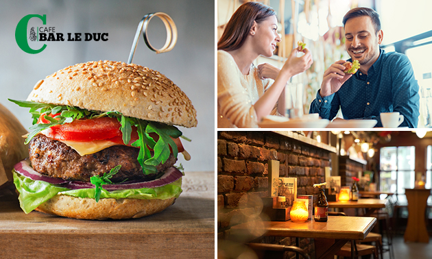 Hamburger + friet + koffie/thee bij Café Bar le Duc