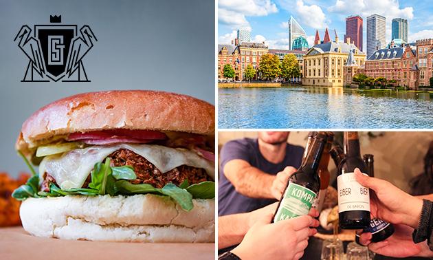 Bierproeverij + vegaburger + nagerecht bij The Golden Stork