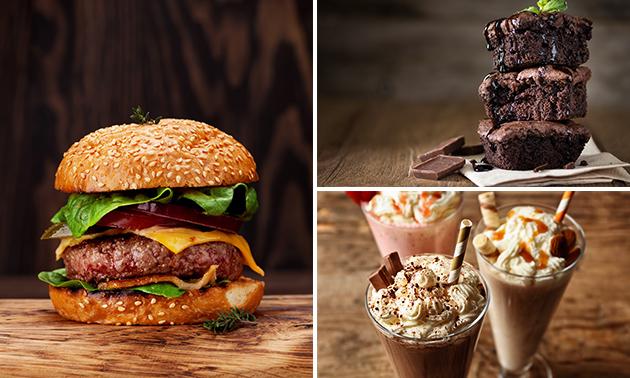 Afhalen: burgermenu naar keuze + milkshake + dessert