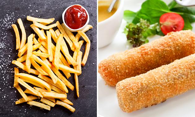 Afhalen voor 4 personen: friet + snack + saus