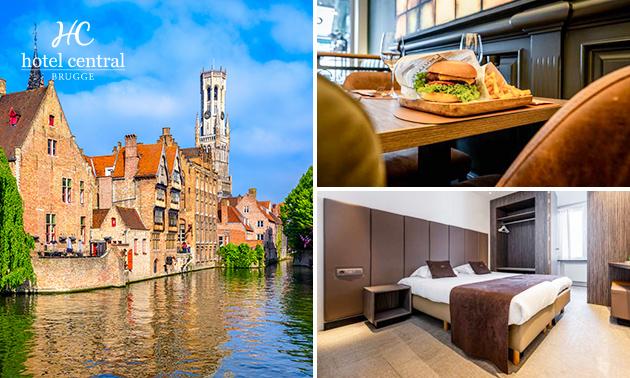 Overnachting voor 2 + ontbijt + diner in hartje Brugge