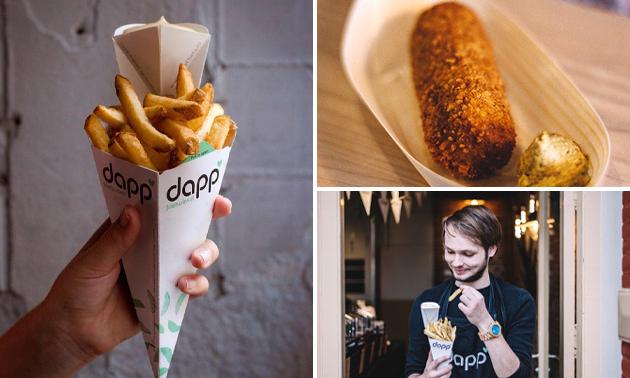 Puntzak friet met saus + snack + drankje bij Dapp