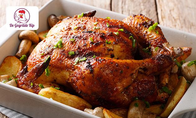 Afhalen: halve of hele gegrilde kip + aardappels en saus
