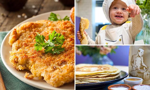 Afhalen: pannenkoek óf schnitzel + voorgerecht