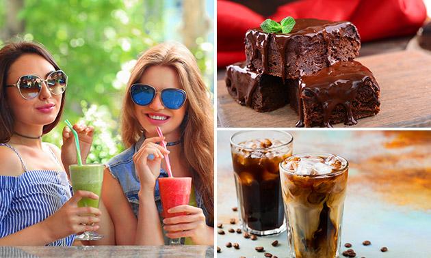 Icecoffee of smoothie + brownie voor 2 in hartje Geleen