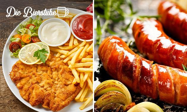 Afhalen: schnitzel of worst + patat bij Die Bierstube