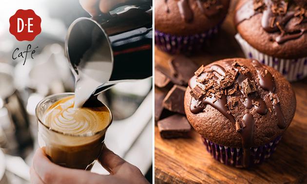 Afhalen: warme drank + muffin bij Douwe Egberts