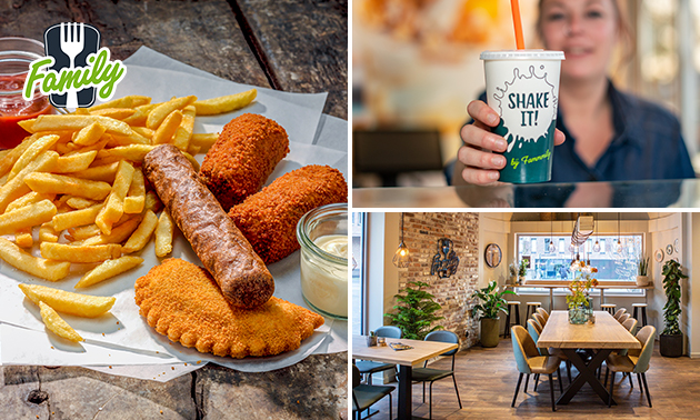 Afhalen: friet + saus + snack + milkshake