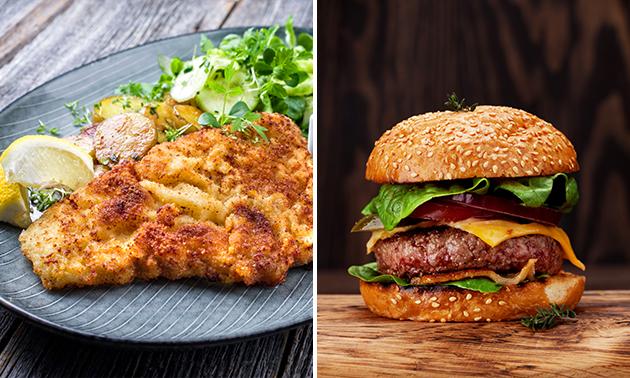 Afhalen: burger of schnitzel + friet + salade +fris