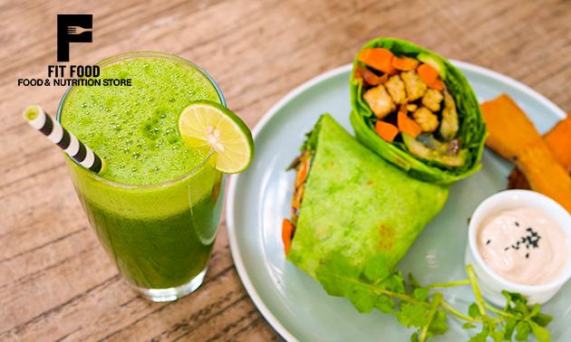 Afhalen: wrap + smoothie naar keuze bij Fit Food Store