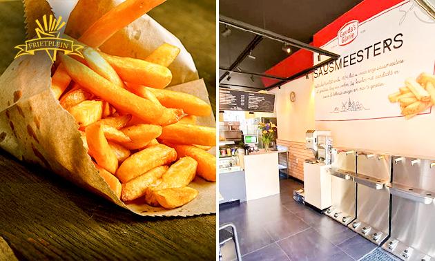 Grote portie friet + snack + saus + drankje in hartje Delft