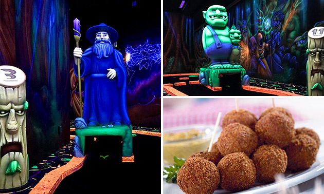 18 holes glowgolf + borrelhapjes of diner