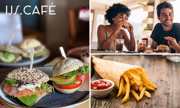Lunchgerecht naar keuze + puntzak friet