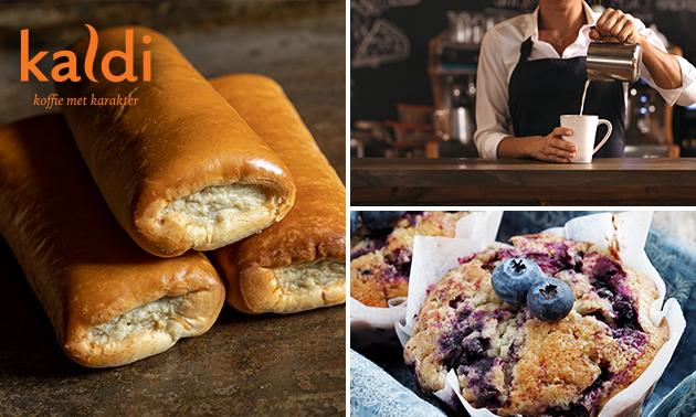 Afhalen: warme drank + worstenbroodje/muffin bij Kaldi