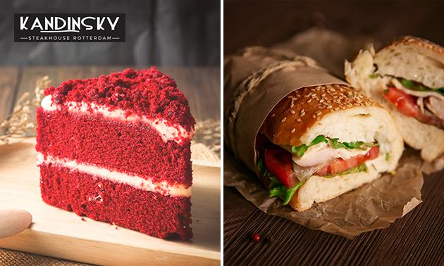 Afhalen: stuk taart, wafel of broodje + drankje naar keuze
