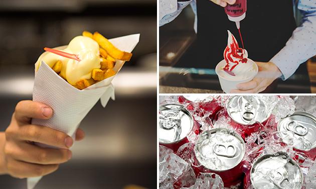 Afhalen: friet met saus + fris + sundae