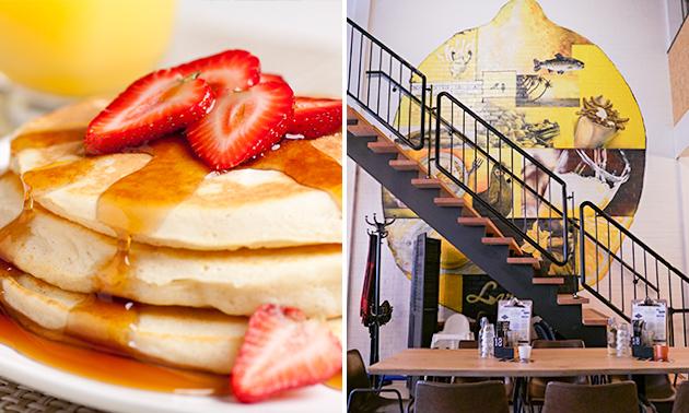 Luxe pancake + koffie/thee + jus bij Lazy Lemon