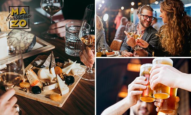 High wine/beer óf cocktail met snacks bij MaZo Brasserie