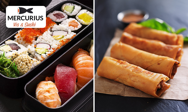 Take-away sushibox (20 stuks) + miniloempia's
