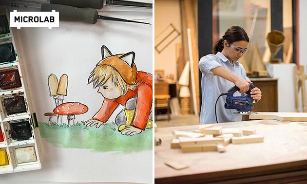 Workshop illustreren (2 uur) of houtbewerking (3 uur)
