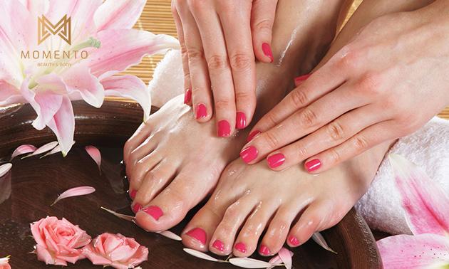 Manicure- of pedicurebehandeling + evt. OPI-gellak