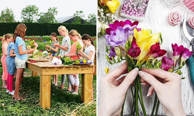 Workshop bloemschikken bij Pluktuin Bloemenzee