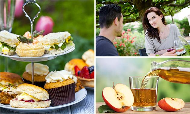 High tea + glas appelsap bij Pluktuin Bloemenzee
