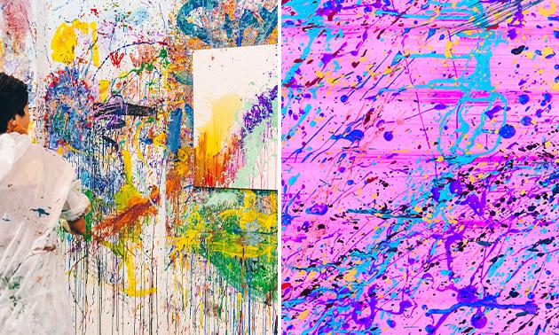 Action painting op een canvasdoek + evt. sloopsessie