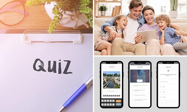 Familie-quiz via app – online delen en live score (1-6 pers.)
