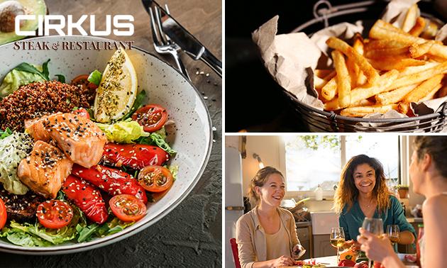 Afhalen: maaltijdsalade + friet + frisdrank bij Cirkus