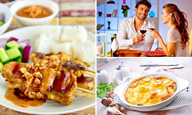 Saté van kippendijen + friet en salade bij Peacock's