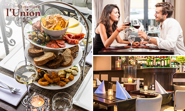 Tapasarrangement + glas wijn of speciaalbier bij l'Union