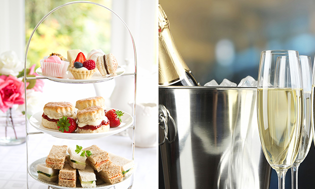 High tea + glas prosecco bij Restaurant Mucha