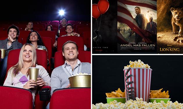 Bioscoopticket + nacho's óf popcorn en M&Ms