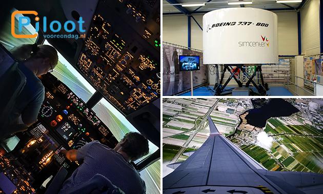 Vliegen in een flight simulator