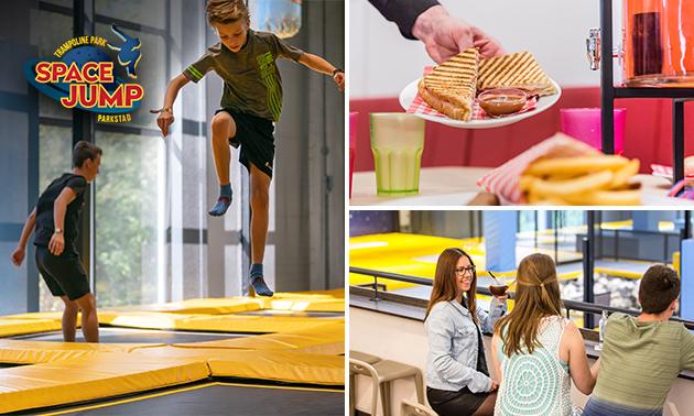 Entree tot indoor trampolinepark (1 uur) + tosti, donut of wafel